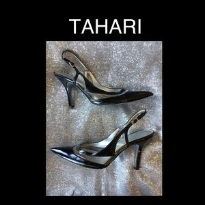 Sexy TAHARI Black patent leather and clear 7.5